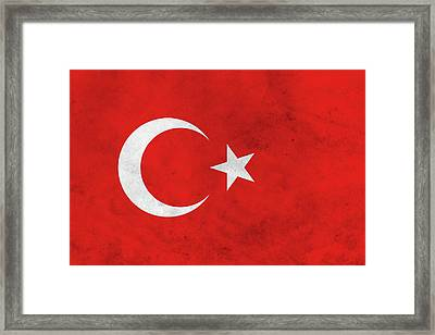 Grunge Turkey Flag Framed Print by Dan Sproul