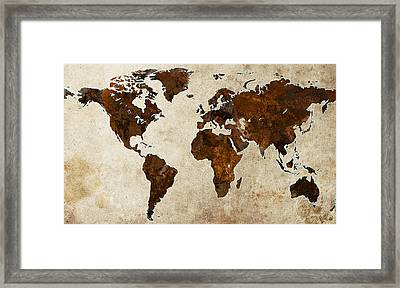 Grunge World Map Framed Print by Gary Grayson