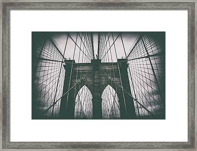 Grungey Brooklyn Bridge Framed Print
