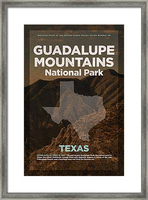 Guadalupe Mountains National Park In Texas Travel Poster Series Of National Parks Number 28 Framed Print by Design Turnpike