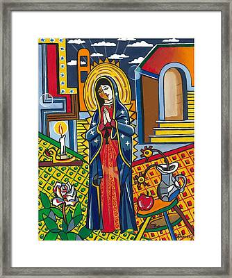 Guadalupe Visits Picasso Framed Print