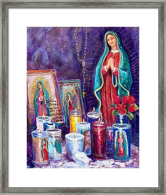 Guadalupe Y Las Velas Candles Framed Print