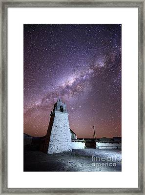 Guallatiri Village Church And Milky Way Chile Framed Print by James Brunker