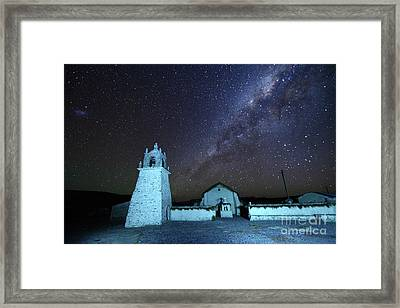 Guallatiri Village Church Under The Milky Way Chile Framed Print by James Brunker