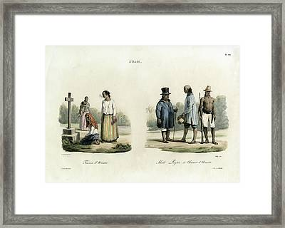 Framed Print featuring the drawing Guam. People Of Umatic by Jacques Arago