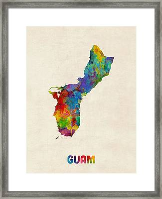 Guam Watercolor Map Framed Print by Michael Tompsett