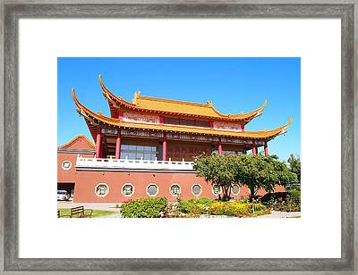 Guan Yin Gazebo Richmond Bc Framed Print by Ming Yeung
