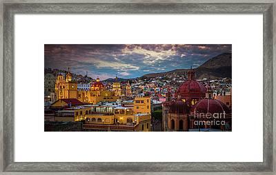 Guanajuato Evening Panorama Framed Print by Inge Johnsson