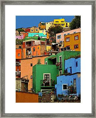 Guanajuato Hillside 2 Framed Print by Mexicolors Art Photography