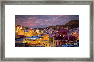 Guanajuato Twilight Panorama Framed Print by Inge Johnsson