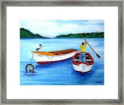 Guanica Fisherman Framed Print by Gloria E Barreto-Rodriguez