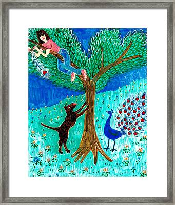 Guard Dog And Guard Peacock  Framed Print by Sushila Burgess