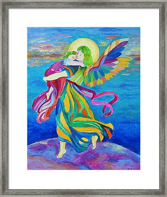 Guardian Angel Holding A Child Framed Print by Magdalena Walulik