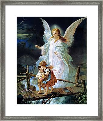 Guardian Angel Watching Over Children On Bridge Framed Print