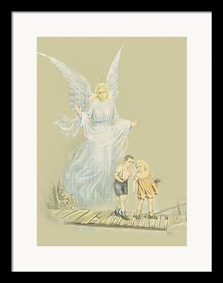 Guardian Angel Children Bridge Framed Prints