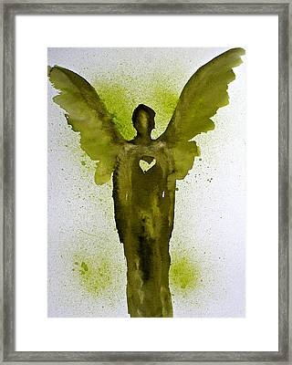 Guardian Angels Golden Heart Framed Print by Alma Yamazaki
