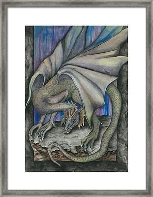 Guardian Dragon Framed Print by Sally Balfany