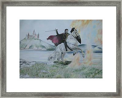 Framed Print featuring the drawing Guardian Of The Castle by Melita Safran