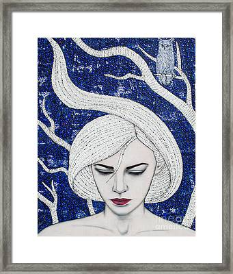 Framed Print featuring the mixed media Guardian Of The Night by Natalie Briney