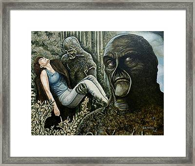 Framed Print featuring the painting Guardian Of The Swamp by Al  Molina