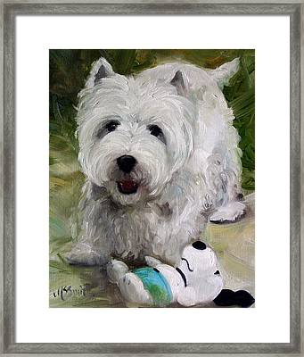 Guarding Snoopy Framed Print by Mary Sparrow
