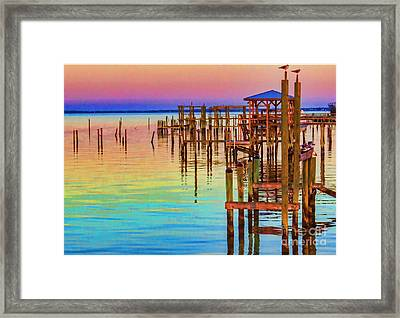 Guarding The Dock Framed Print