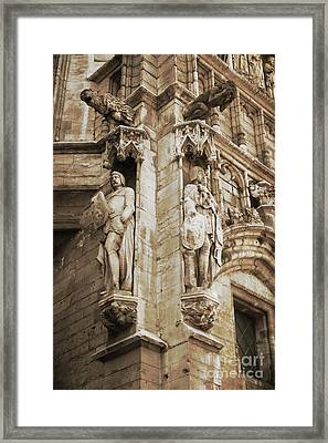 Guarding The Grand Place In Sepia Framed Print