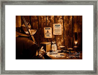 Guarding The Payroll - Sepia Framed Print by Olivier Le Queinec
