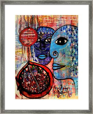 Framed Print featuring the painting Guarding The Pomegranate by Mimulux patricia no No