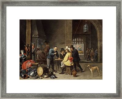 Guardroom With The Deliverance Of Saint Peter Framed Print by David Teniers