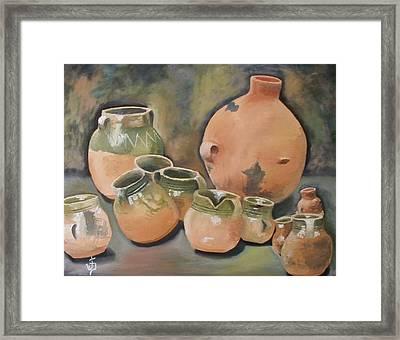 Guatemala Ceramic Pots  Framed Print by Jose Velasquez