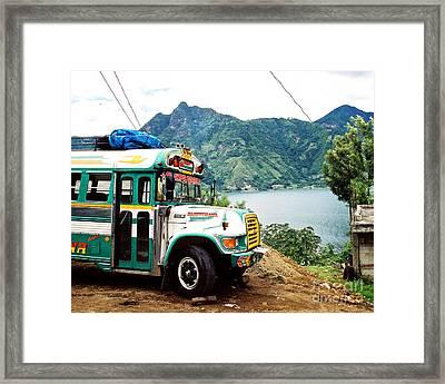 Guatemalan Chicken Bus Framed Print by Trude Janssen