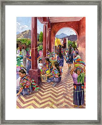Guatemalan Marketplace Framed Print by Anne Gifford