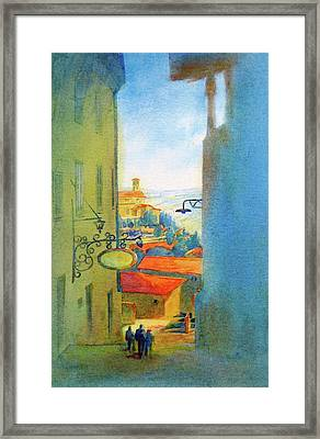 Gubbio Down The Hill Framed Print by Virgil Carter