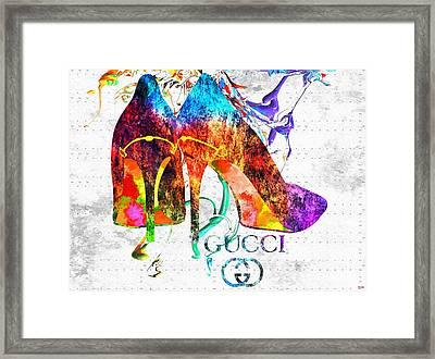 Gucci Shoes Grunge Framed Print