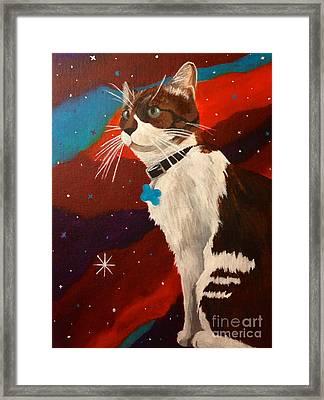 Guenhwyvar The Cat In Space Framed Print by Ashley Baldwin