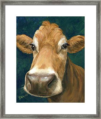 Guernsey Cow On Teal Framed Print by Dottie Dracos