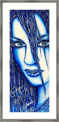 Guess U Like Me In Blue Framed Print
