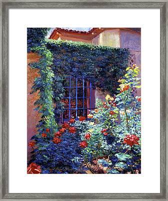 Guesthouse Rose Garden Framed Print by David Lloyd Glover