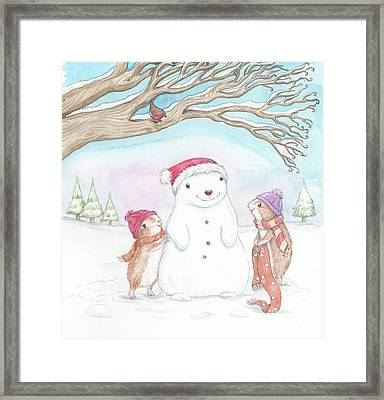 Guinea Pig Babies In The Snow Framed Print by Joanna Scott