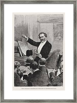 Guiseppe Verdi Conducts Aida Framed Print by Celestial Images