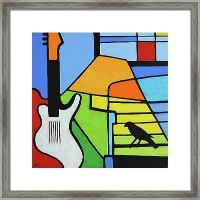 Guitar And Bird Framed Print