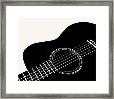 Framed Print featuring the digital art Guitar, Black And White,  by Jana Russon