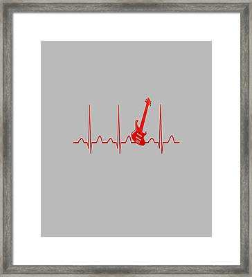 Guitar Heartbeat Framed Print by Sophia