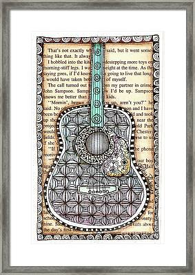 Guitar In A Book Framed Print by Delein Padilla