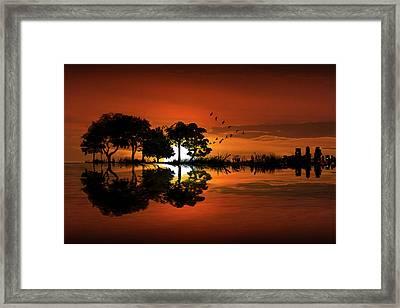 Guitar Landscape At Sunset Framed Print