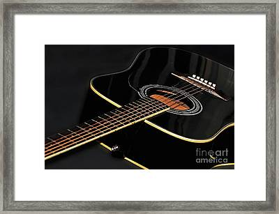 Framed Print featuring the photograph Guitar Low Key By Kaye Menner by Kaye Menner