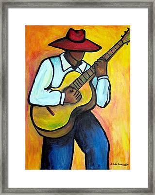 Framed Print featuring the painting Guitar Man by Diane Britton Dunham