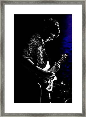 Guitar Man In Blue Framed Print by Meirion Matthias