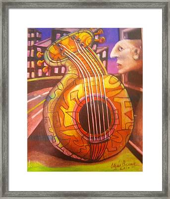 Guitar Out My Window Framed Print by Chris Boone